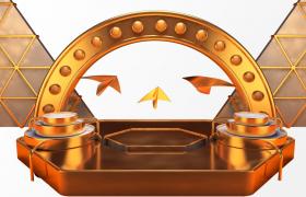时装节目表演卡通金色舞台C4D模型(含模型贴图)