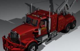 擎天柱同款霸气红色大型重头吊装牵引车C4D模型
