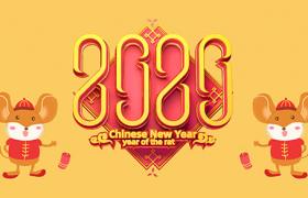 PSD2020新年平面海报设计:纯黄色背景可爱卡通小老鼠图案素材