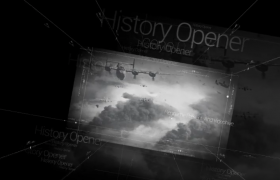 科技线条数字黑白视差历史战争记录片流金岁月栏目开场AE模板