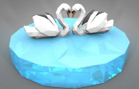 象征著百年好合永結同心內含的水面上兩只白天鵝低面體C4D模型