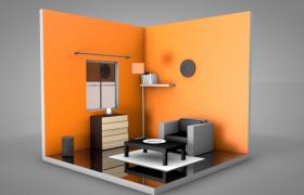 三维橙色墙纸卡通色彩房间室内设计C4D模型(含贴图)