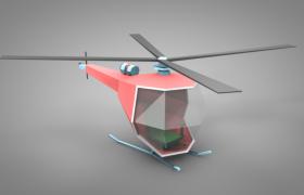 简约时尚卡通风格设计彩色低面体直升飞机C4D模型(含模型贴图)