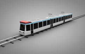 沿着铁轨向西方行驶的卡通低面体现代科技火车C4D模型