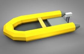 乐高拼砌玩具黄色救生皮划艇低面体C4D模型(含贴图)