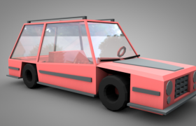 粉色低面卡通两厢小车儿童玩具C4D模型low poly