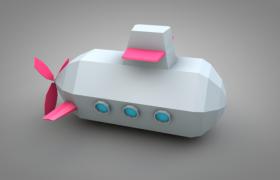 战略性武器卡通少儿画风低面体潜水艇C4D模型