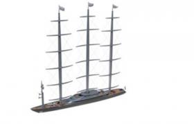 C4D建模:大型現代化科技超級游艇模型素材下載(含貼圖)