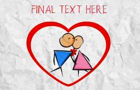 情人节表白手绘火柴人爱情碰撞心跳画面AE模板