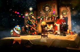 星空粒子下卡通怀旧翻书展示圣诞节温馨装扮画面AE模板