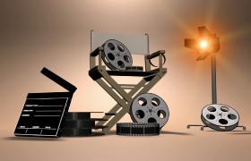 旋转展示电影胶卷场记板效果灯模型特效视频素材