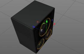 黑色3D立体锥盆式扬声器音箱DVD设备C4D模型