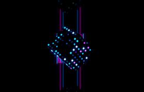 三维魔方旋转演示霓虹灯七彩闪烁震撼舞台LED背景视频素材