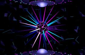 三维刺球旋转霓虹灯闪烁线条循环变换无缝连接舞台背景LED视频素材
