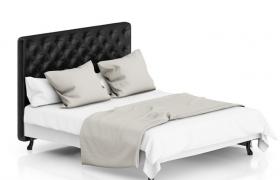 高品质室内家装设计皮革风味黑色实木床C4D模型