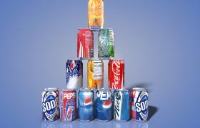 十款可口百事公司易拉罐系列产品促销展示C4D模型包下载