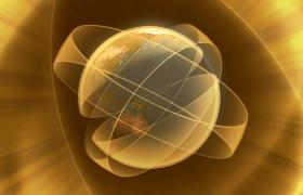 多层透明光环交错包裹地球动态旋转特效视频素材