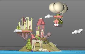 卡通兒童設計風格夢幻般的極樂世界C4D空中城堡場景低面模型