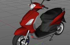 城市交通代步神器:紅色小電驢高精度C4D模型