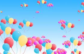 多组炫彩气球飞上蓝色天空动画视频素材参考