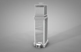 现代科技风独立城市金融中心高楼建筑白模C4D模型下载