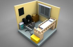 卡通簡約室內設計次臥裝飾布局兒童房間C4D模型