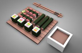 卡通日式寿司拼盘日本传统美食便当C4D模型展示