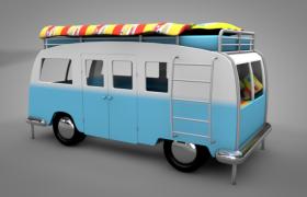 90年代美国东部乡村营地露营小型房车C4D模型展示