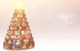 浪漫雪花电影胶片照片旋转汇聚圣诞蛋糕节日祝福片头AE模板