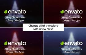 旋转梦幻魔法粒子汇成明亮的圣诞树展示动画片头AE模板