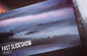 E3D效果立体盒子宣传镜头风景图文宣传动画AE模板