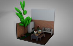 当代豪宅花园新宠室外露天花园厨房餐厅C4D卡通场景模型