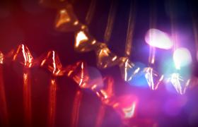 晶莹剔透的水晶齿轮转动粒子闪耀唯美温馨的年会开场片头视频素材