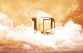 10秒黄金色唯美云层年会金色数字倒计时AE模板