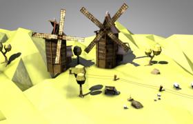 矗立在山顶的荷兰木质风车卡通建筑C4D模型下载