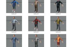Cinema4d模型素材包:15套不同类型的中年男士模型下载(含绑定角色)
