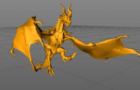 龙族火之晨曦龙族四大君主龙王之一青铜与火之王诺顿C4D模型(含绑定动画)