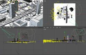 C4D工程預設:高架橋梁貫穿現代城市線路場景模型下載