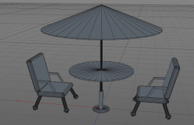 城市商业街金属材质户外休闲双人对立式桌椅C4D模型