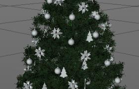 3款不同类型装饰的圣诞节节日传统摆件圣诞树C4D模型
