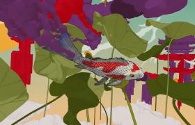 鱼塘动态绘制中国风科幻MG动画视频素材