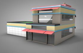 卡通元素超广角透明玻璃双层独立美食餐厅C4D模型