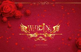 玫瑰花装点爱心飘逸wedding婚礼主题视频素材