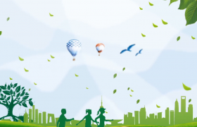 绿色大树城市剪影环保社会公益广告视频素材