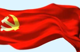 鲜红党旗风中飘扬党政党片视频素材
