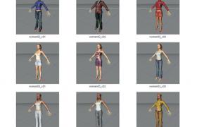 15套现代穿衣风格搭配女性人物角色模型包素材下载(含绑定角色)