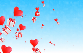 礼盒随着爱心气球空中飞舞婚庆表白视频素材预览(含通道)