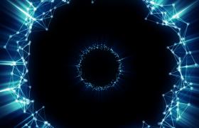 蓝色Plexus粒子连线空间圆环波动三维立体隧道前进高清视频素材