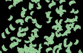 大把绿色卡通钞票飘落特效视频素材下载(带通道)