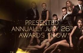 醒目耀眼黄金时尚图文婚礼年会颁奖片头片尾展示AE模板